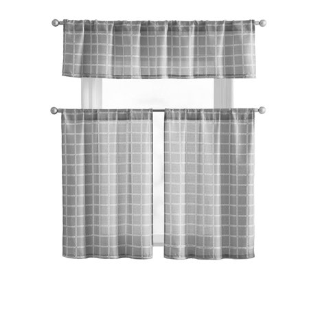 VCNY Home Ocean Plaid Gray Kitchen Curtain Tier & Valance Set
