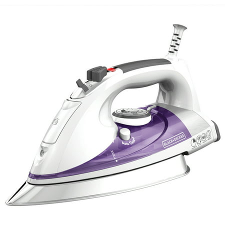 BLACK+DECKER Professional Steam Iron with Stainless Steel Soleplate and Extra-Long Cord, Purple, IR1350S ()