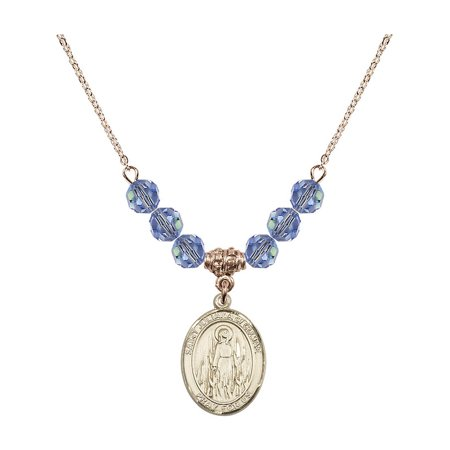 18-Inch Hamilton Gold Plated Necklace with 6mm Light Blue September Birth Month Stone Beads and Saint Juliana of Cumae Charm