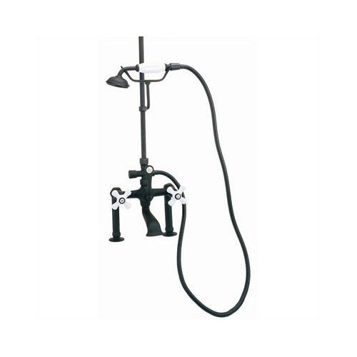 Elizabethan Classics Deck Mount Tub Faucet with Hand Shower and Porcelain Cross Handles for Shower System