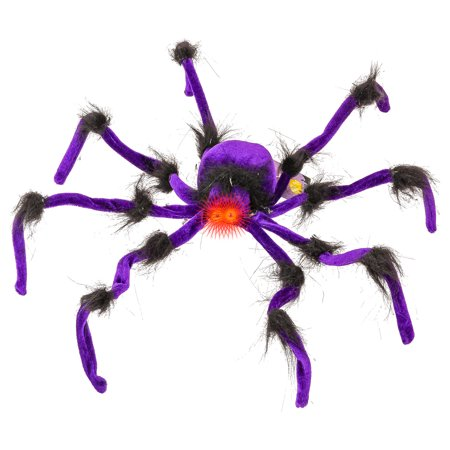 Halloween Haunters Giant 2ft Scary Purple Spider Prop Decoration Red LED Eyes - Giant Spider Prop