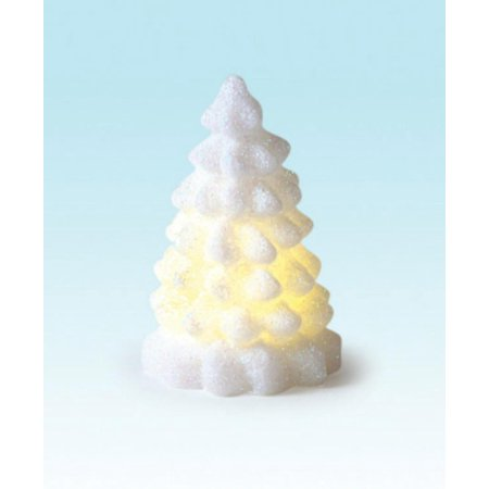 "4"" Winter Frost LED Flameless Wax Glittered Christmas Tree Candles"
