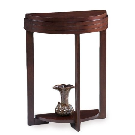 Bowery Hill Demilune Accent Table in Chocolate Cherry