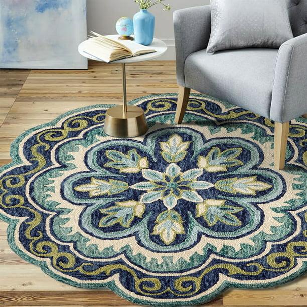 Lr Home Dazzle Fantastic Floral Blue Indoor Area Rug 6 Ft X 6 Ft Walmart Com Walmart Com
