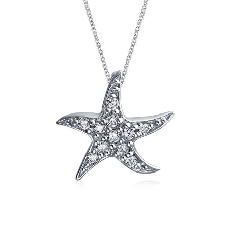 Nautical Beach Starfish Pendant Necklace For Women Dancing Sea Life Pave Cubic Zirconia CZ 925 Silver 16 Inch Chain (Nautical Necklace)