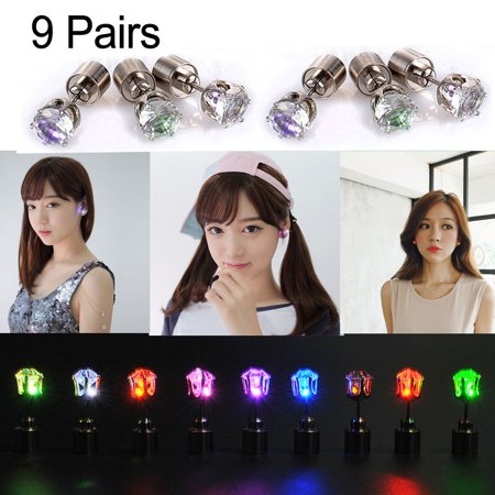 Iclover 9 Pairs Light Up Led Earrings Studs Flashing Blinking Ear Dance Party Uni For