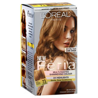 Loreal Feria Multi Faceted Shimmering Hair Colour 3X Highlights, #73 Golden Sunset - 1 Kit