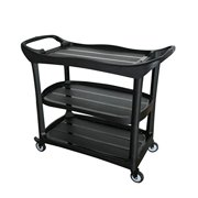 "Large Size Utility Cart, 3 Shelf Cart with Heavy Duty Plastic Shelves H 37.6"" x L 44.6"" x W 21"" , Black AF08179"