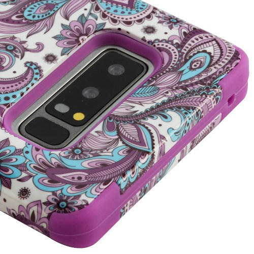 Kaleidio Case For Samsung Galaxy Note 8 [TUFF Armor] Impact Protective Hybrid [Shockproof] 3-Piece Dual Layer Rubber Cover w/ Overbrawn Prying Tool [Purple Paisley]