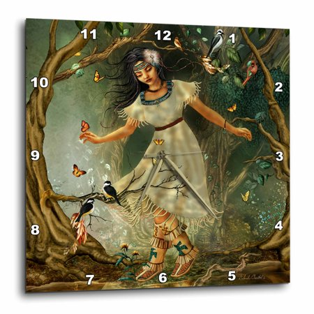 3dRose Girl from long ago on a walk through the forest surrounded by birds and butterflies, Wall Clock, 10 by 10-inch ()