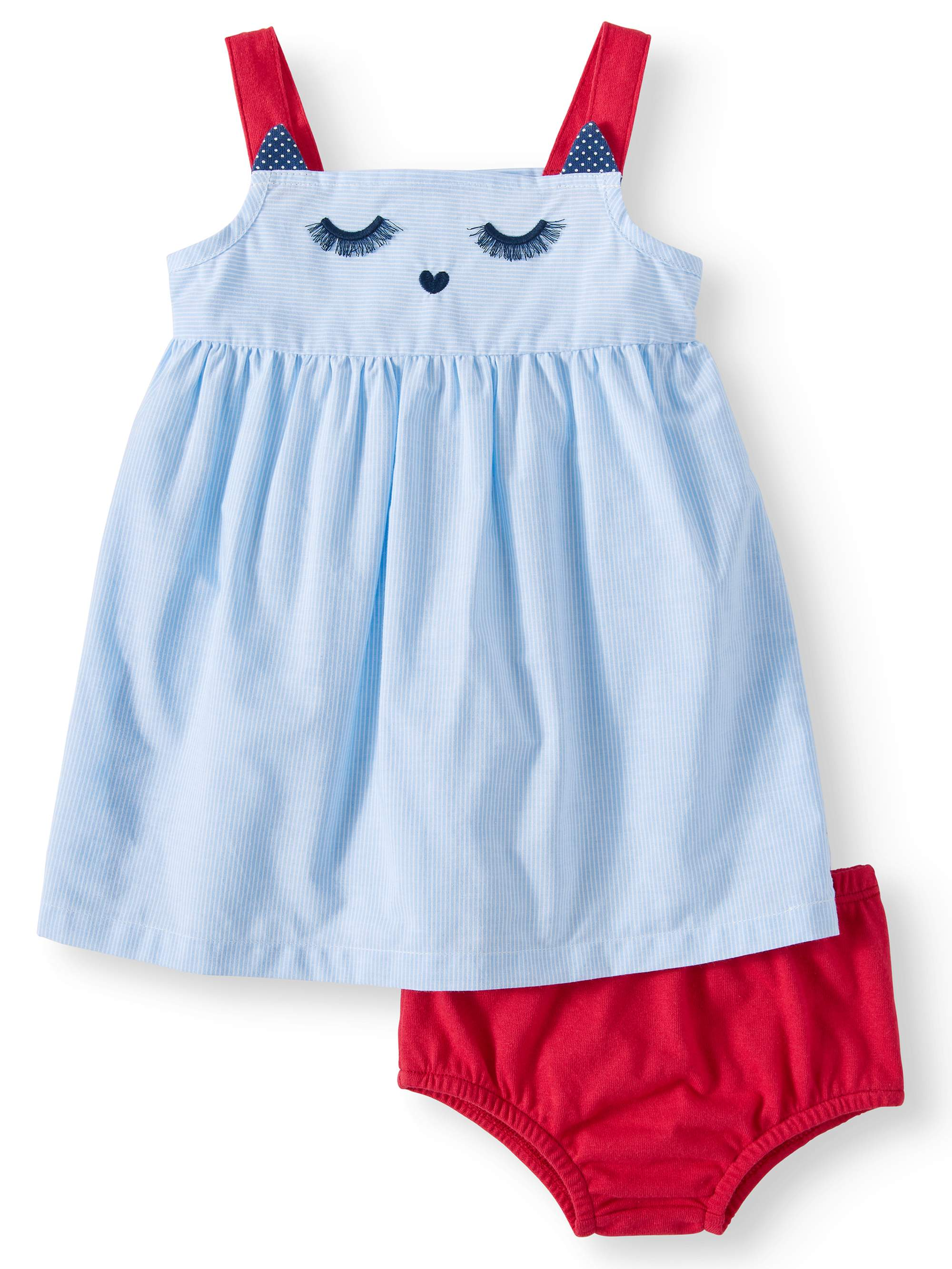 Striped Woven Babydoll Dress & Diaper Cover 2piece Set (Baby Girl)