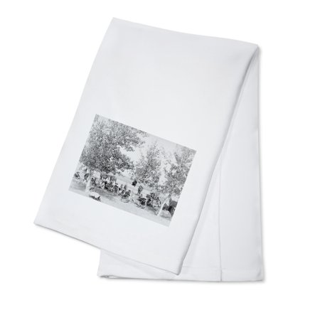 Cowboys Eating Dinner on Ground Under Trees Photograph (100% Cotton Kitchen Towel)