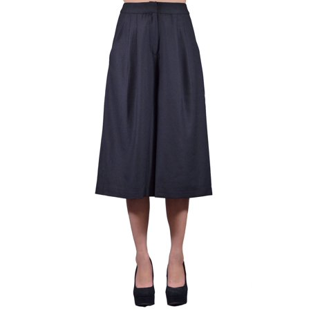 - Lush Lady Chic Structured Pleated Midi Length Wide Legs Karate Pants Trousers