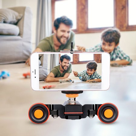 Mini Motorized Video Slider Electric Rolling 3-Wheel Dolly Pulley Car Skater for DSLR Camera Camcorder Smartphone - image 4 de 8