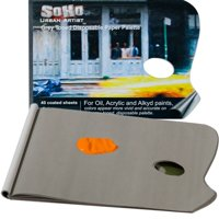 """SoHo Urban Artist Paint Paper PALETTE Pad Specially Coated Heavy Duty Grey Toned Disposable Palette Paper [40 Sheets]- with Thumb Hole 12x16"""""""