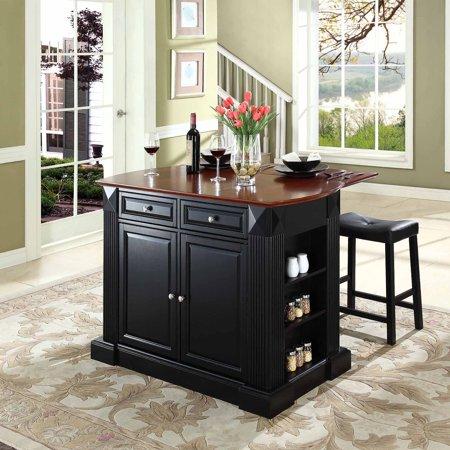 crosley furniture drop leaf breakfast bar top kitchen island with 24 upholstered saddle stools. Black Bedroom Furniture Sets. Home Design Ideas
