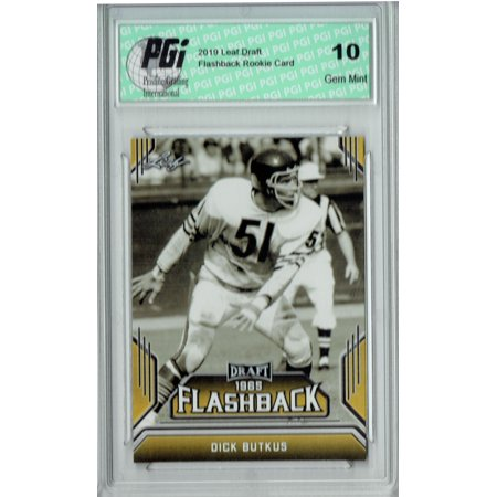 Dick Butkus 2019 Leaf Draft #04 Gold Flashback Rookie Card PGI 10