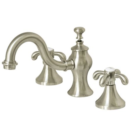 - Kingston Brass French Country Widespread Bathroom Faucet with Drain Assembly