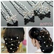 20Pcs Rhinestone Flower Hair Pins Clips Diamante Wedding Bridal Bridal Brides US