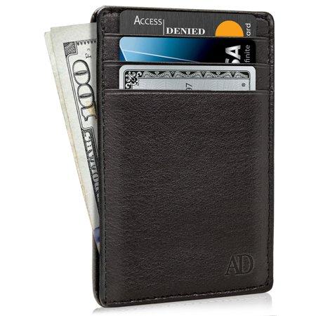 Genuine Leather Credit Card Holder Wallets For Men Slim Minimalist Wallet RFID Blocking
