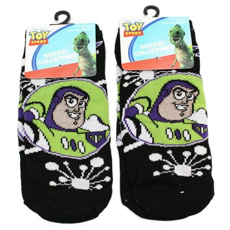 Disney Pixar's Toy Story Buzz Lightyear Portrait Black Socks (Size 6-8, 2 Pairs)
