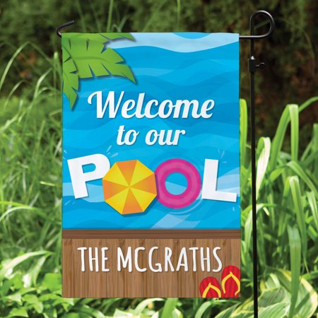 Personalized Welcome To Our Pool Garden Flag - Personalized Garden Flags