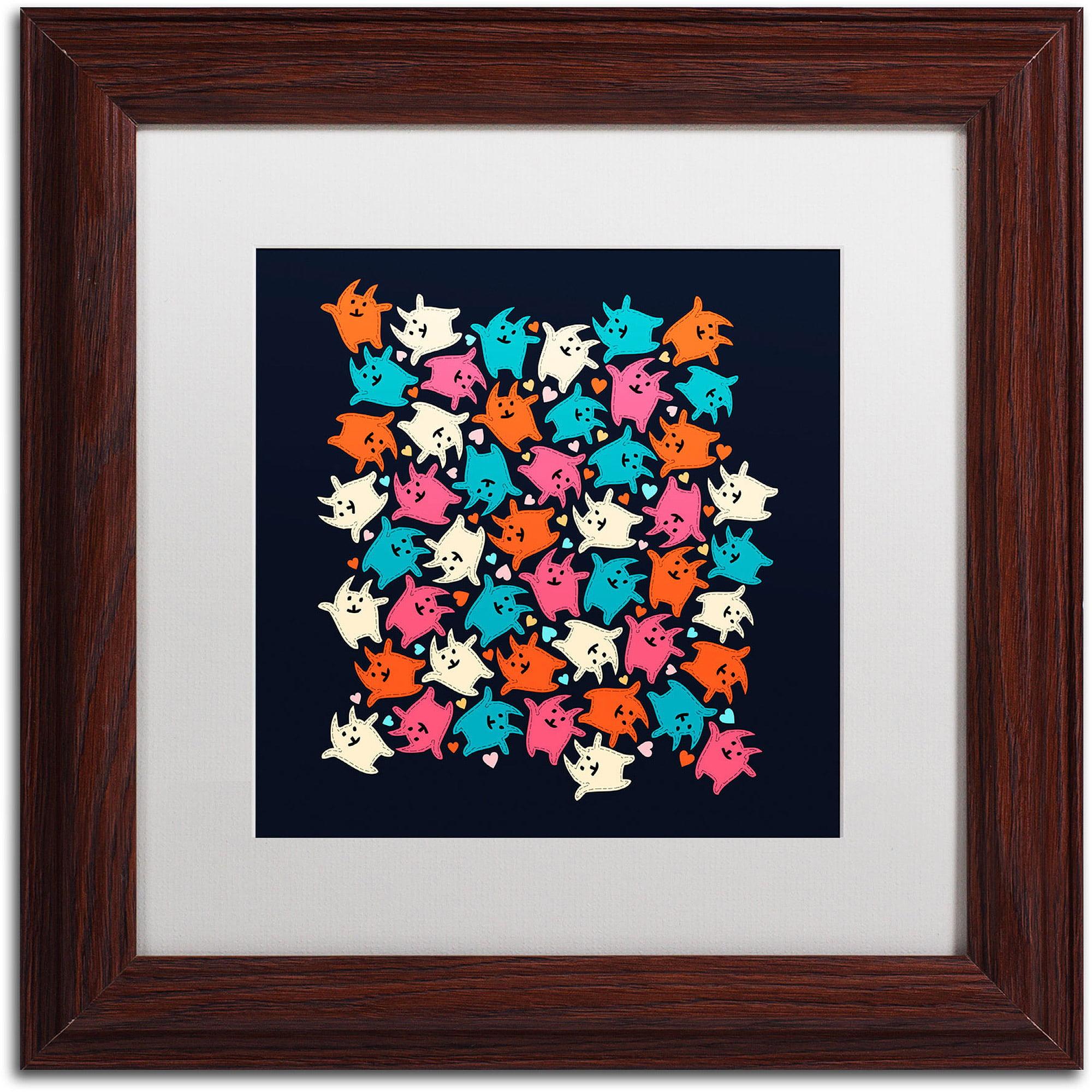 """Trademark Fine Art """"Tiny Tumbling Kittens"""" Canvas Art by Carla Martell, White Matte, Wood Frame"""