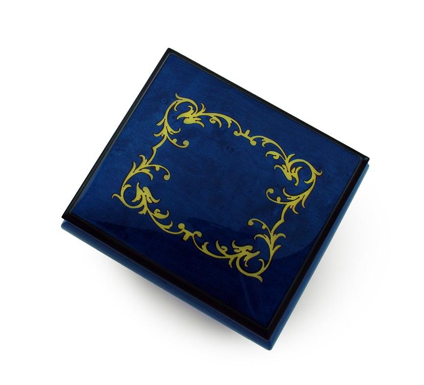 Classic Royal Blue Arabesque Wood Inlay Music Box - Love Me Tender