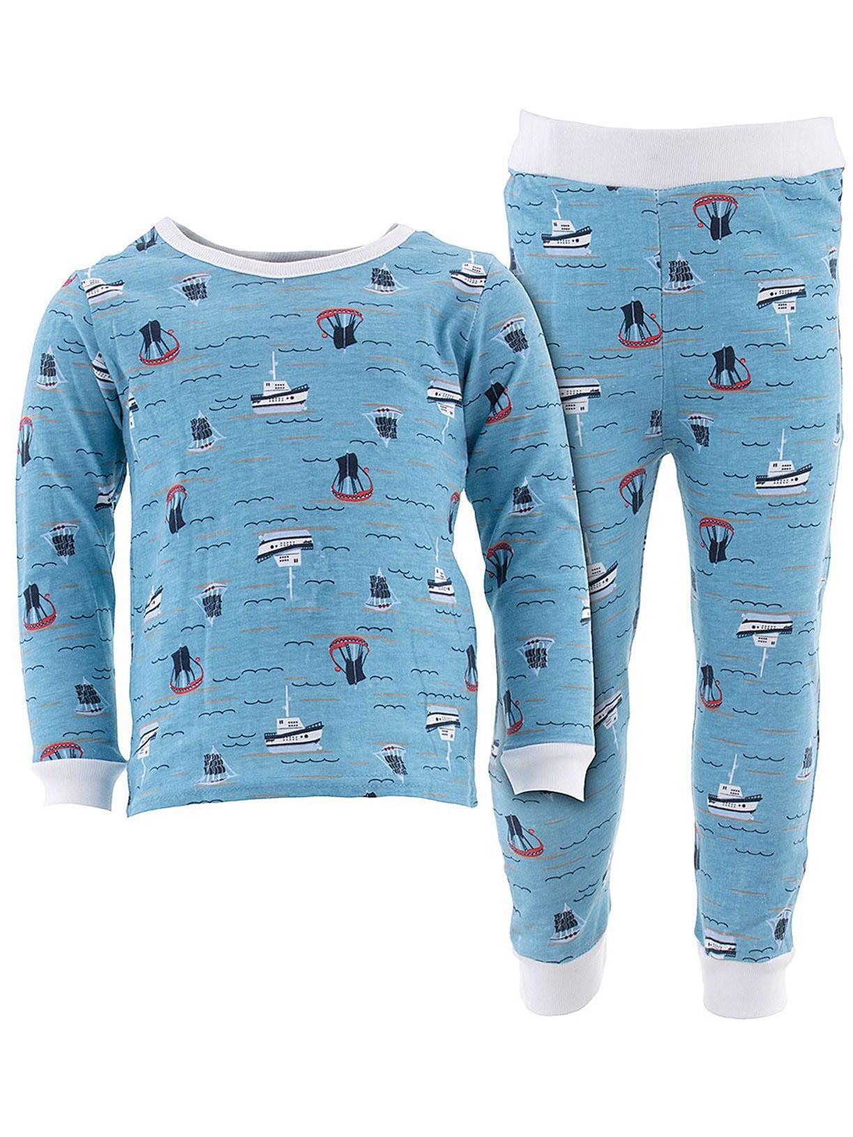 Sweet & Soft Little Boys Blue Sail Ships Cotton Pajamas
