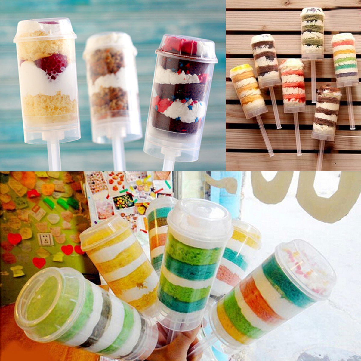 10Pcs Clear Push Up Pop Cake Containers Candy Lids Shooters For Birthday Party