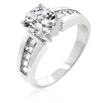 925 Sterling Silver Baguette and Round Cubic Zirconia Channel Set Engagement Ring Size 9 Jewelry Ideal Gifts Channel Set Baguette Engagement Ring