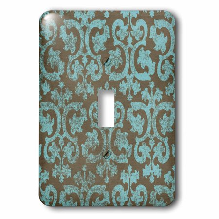 3dRose Grunge light blue and grey damask - gray - faded stamp-look swirls - swirling vintage fancy pattern, Double Toggle Switch