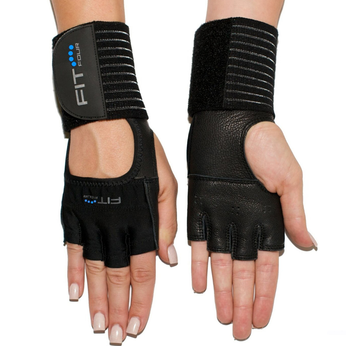 Fit Four The Spartan Grip Leather Fitness Weight Lifting Gloves - XS - Black