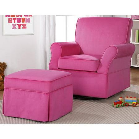Dorel Asia Dorel Living Kelcie Pink Swivel Glider & Ottoman ...