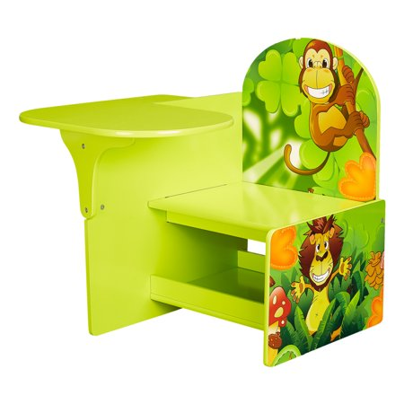 Senda Jungle Kids Writing Desk and Chair with Storage Shelf