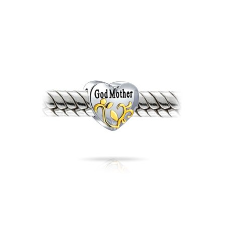 Heart Shape God Mother Love Family Charm Bead For Women 2 Tone 14K Gold Plated Sterling Silver Fits European Bracelet - image 1 de 2