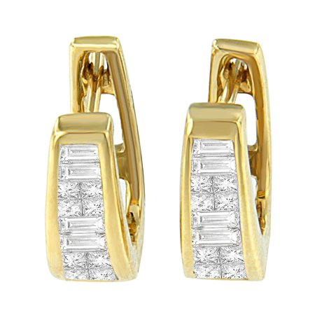 14k Yellow Gold 0.5ct TDW Princess and Baguette Diamond Earrings (I-J,VS1-VS2) Vs1 Vs2 Earrings