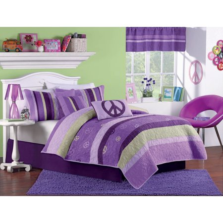 Purple Amp Green Striped Peace Signs Cotton Twin Quilt
