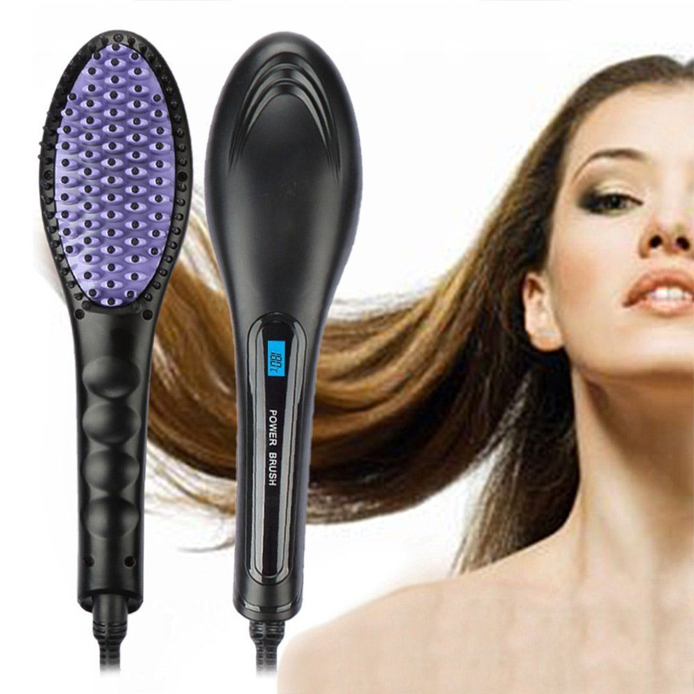 Upgrade Version Hair Straightener Brush, CoastaCloud Ceramic Heating Straightening Irons Brush Anti Scald, Static, Detangling and Silky Straight - Perfect Size for Travel