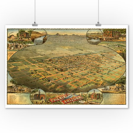 - Phoenix, Arizona - (1885) - Panoramic Map (9x12 Art Print, Wall Decor Travel Poster)