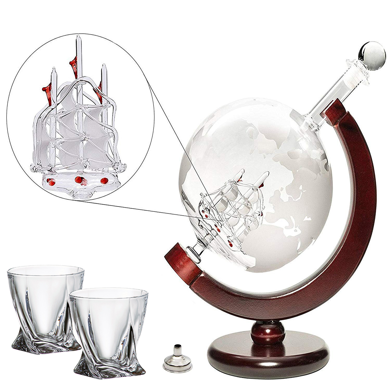 Denizli Spirits Large 50 Oz 'Ship' Handmade Whiskey Liquor Globe Decanter Set