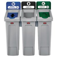 Rubbermaid Commercial Slim Jim Recycling Station Kit, 69 gal, 3-Stream Landfill Mixed Recycling by Rubbermaid Commercial