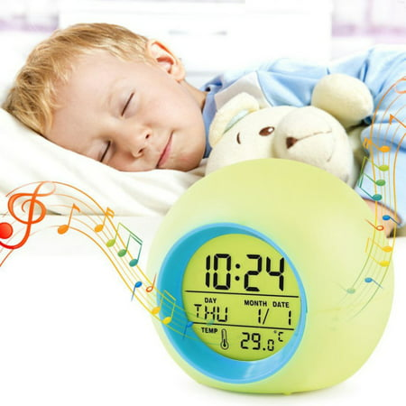 Kids Alarm Clock, Wake Up Light Alarm Clock with 6 Natural Sounds 7 Auto Switch Colors for Kids