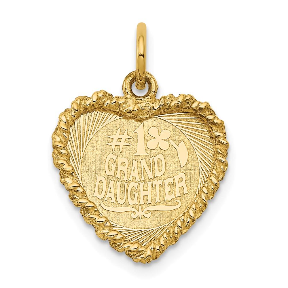 14k Yellow Gold Engravable #1 Granddaughter Disc Charm Pendant