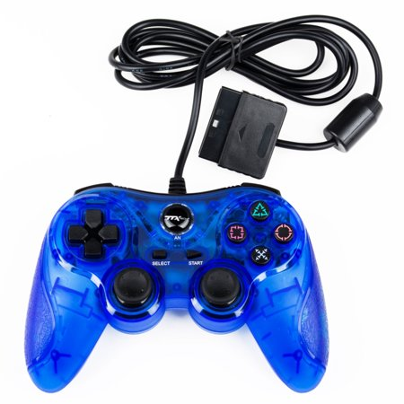 TTX Tech Analog Wired Controller for PlayStation 2/PlayStation 1, Clear Blue