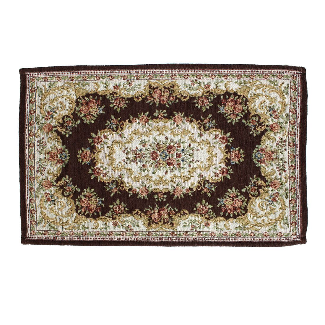House Rectangle Florals Printed Antislip Floor Area Rug Carpet Coffee Color