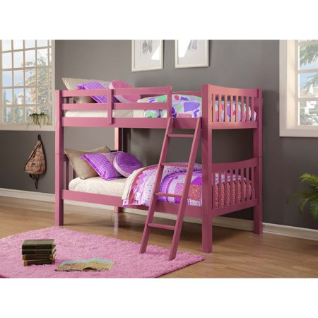 Donco Kids Twin Over Twin Pink Mission Bunk Bed