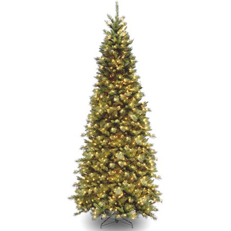 National Tree Pre Lit 9 Tiffany Slim Fir Hinged Artificial Christmas Tree With 700 Clear Lights