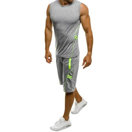 2019 hot sales Men's Casual Slim Sleeveless Tank Top T-Shirt Shorts Pants Suit Top
