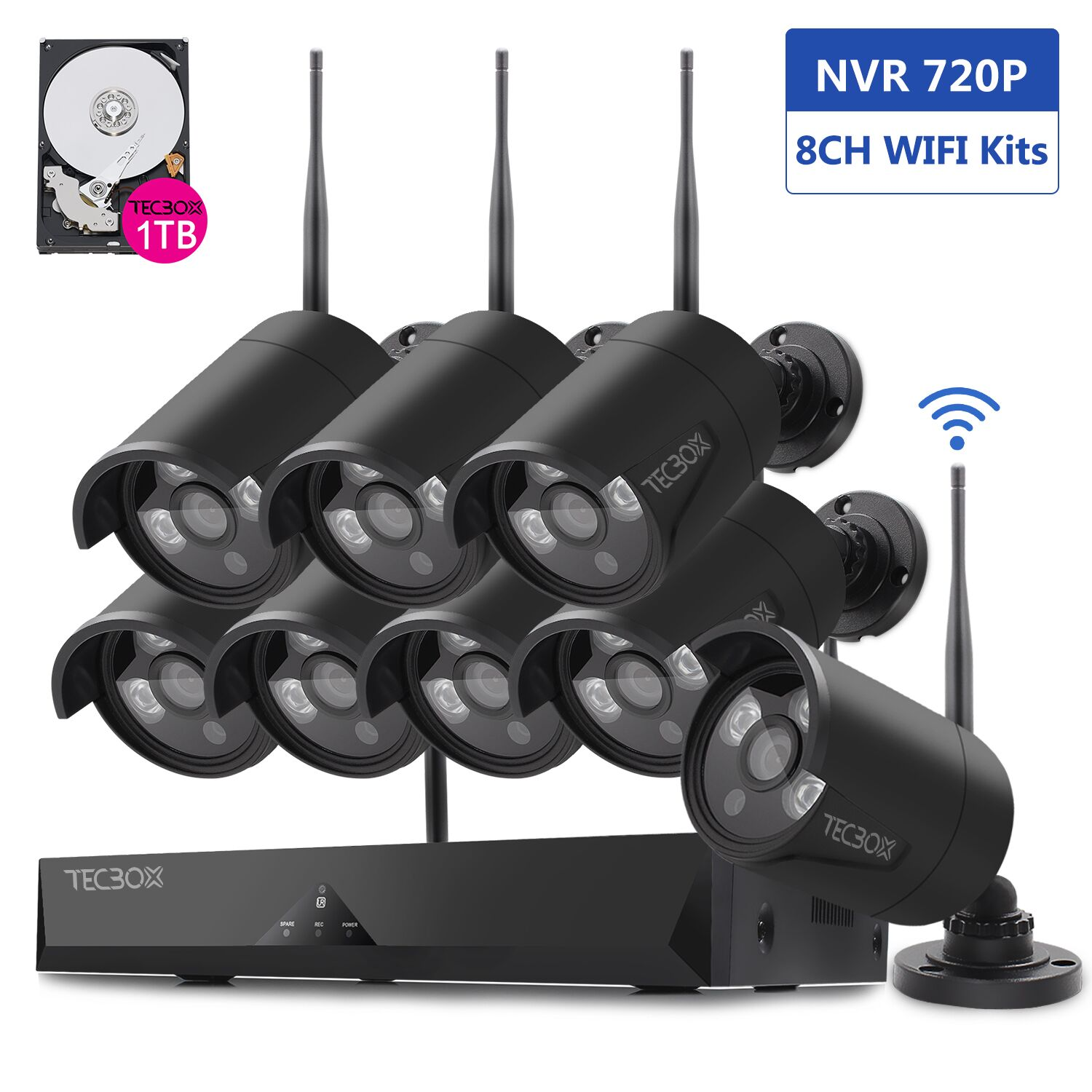 TECBOX Wireless HD 720p 8-Channel NVR 1TB Hard Drive Security System with 8 Bullet IP Network Security Cameras